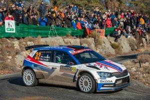 Na Rallye Monte Carlo Kopecký s vozem ŠKODA FABIA R5 v den narozenin zvítězil v WRC 2