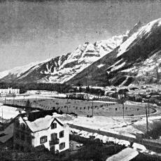 Celkový pohled na olympijský stadion Chamonix 1924